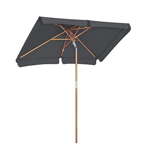 SONGMICS Sonnenschirm für den Balkon, 200 x 125 cm, rechteckiger Balkonschirm, Sonnenschutz bis UPF 50+, Schirmmast, Schirmrippen aus Holz, knickbar, ohne Ständer, Garten, Outdoor, grau GPU26GY