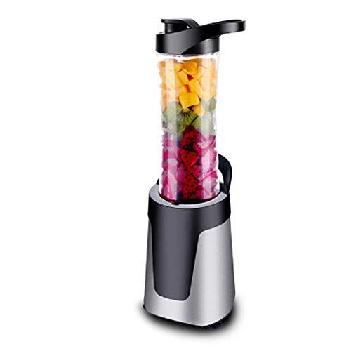 Exprimidor automático portátil doméstico multifunción pequeño, 0.6L, con 4 cuchillas de acero inoxidable, vaso mezclador de metal, doble vaso, adecuado para frutas, batidos y alimentos para bebé
