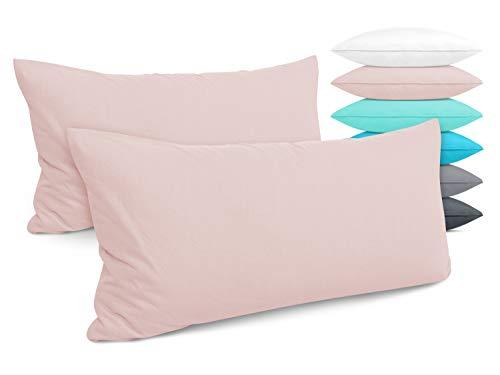 Doppelpack - Kissenbezüge aus Jersey-Baumwolle - Moderne Kissenhüllen in unifarbenem Design - in 6 modernen Farben und 4 Größen, ca. 40 x 80 cm, Altrosa