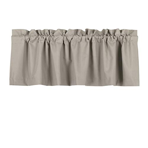 Valea Home Blackout Valance Curtains Waterproof Soft Rod Pocket Valance for Kitchen and Bathroom Window Room Darkening Valances for Bedroom, 52 inch x 18 inch, Taupe