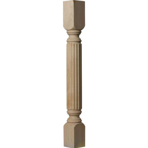 Ekena Millwork COL03X03X35RARW 3 3/4-Inch W x 3 3/4-Inch D x 35 1/2-Inch H Raymond Reeded Cabinet Column, Rubberwood