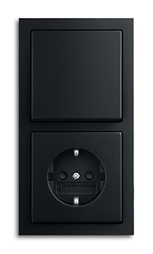 Busch--Jaeger. Komplett-Sets Future® linear Anthrazit glänzend (1x Steckdose, 1x Wechselschalter, 1x Rahmen 2fach, 1x Wippe)