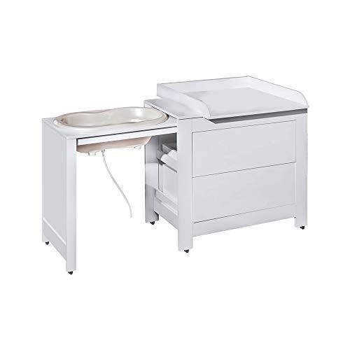 ATB Kindermobel - Cambiador 3 en 1, color blanco con bañera y manguera, convertible en cómoda normal, cajones grandes, incluye accesorio cambiador extraíble extragrande