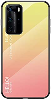 Case for Huawei P40 Pro Case,Gradient Clear Tempered Glass Cover Case Compatible with Huawei P40 Pro-Gradient Yellow