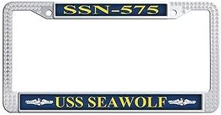Dongsmer USS Seawolf SSN-575 Auto License Cover Holder White Rhinestones Car Plate Frame