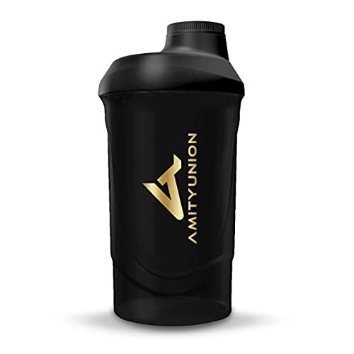 Eiweiss Shaker Deluxe 800 ml BPA frei, auslaufsicher, mit Sieb & Skala für Cremige Protein Shakes, Gym Fitness Becher für Isolate & Sport Konzentrate, Protein Shaker, Schwarz – Goldenes Logo