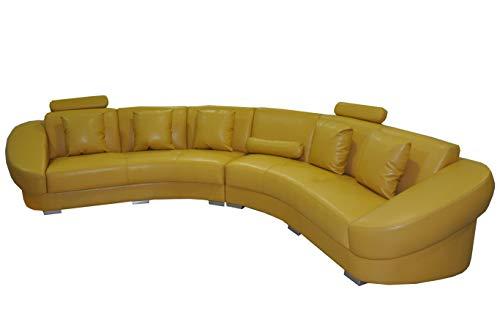 JVmoebel Runde Eck Sofa Couch Polster XXL Big Rund Couchen Wohnlandschaft U Form gelb Neu