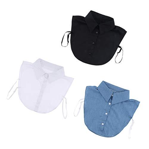 Hellery 3Pack False Faux Collar Halbes Hemd Bluse Abnehmbar mit 4 Knöpfen Mode