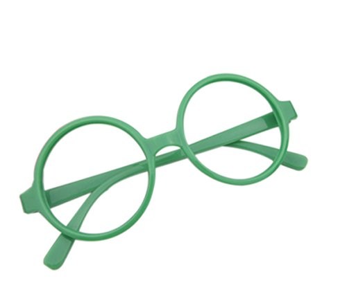 Westeng Kinderbrille Einfach Retro Großer Runder Jungen und Mädchen Kinderbrillenrahmen Spiegel Rahmen Kinderbrillengestell - Grün
