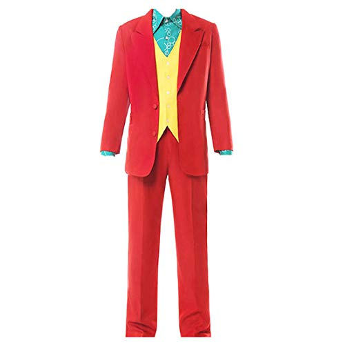 HYZM Joker Kostüm Cosplay mit Jacke Shirt Weste Hose für Erwachsene Herren