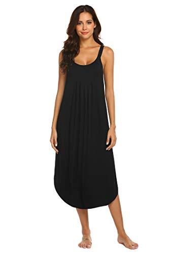 Ekouaer Long Nightgown Womens Sleeveless Sleep Dress Summer Slip Night Dress Plus Size Sleepshirt (Black L)