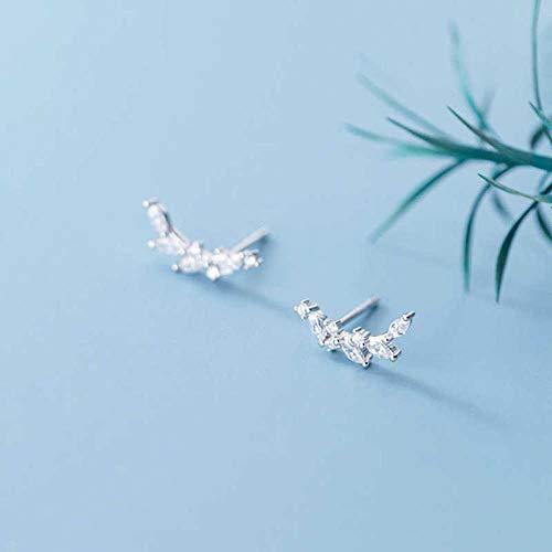 Generic Brands Pendientes de tuerca de plata de ley 925 con circonitas para mujer, para fiestas, elegantes y finos, accesorios de regalo de plata