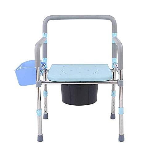 MLAD Faltbare Edelstahl Mietklo, älterer Multifunktionshöhenverstellbarer Badezimmer Stuhl geeignet Schwangere Toilettenstuhl/mit Speicher-Korb 94