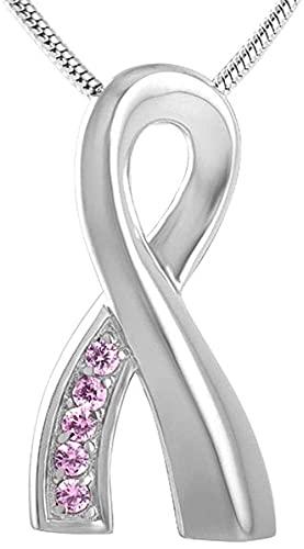 OPPJB Collar De Cenizasurnas para Cenizas Diamante De Imitación para Adultos YCinta De CristalAmpRosa Azul Accesorios De Acero Inoxidable Joyas para Mujeres Colgante De Ceniza De Cremación