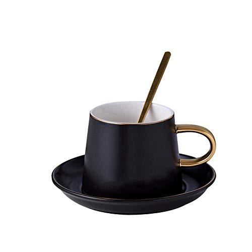 Taza de café de cerámica simple nórdica Sketch Golden Western Restaurant Juego de café Taza de té de la tarde Taza de agua Taza de leche-black_201-300ml