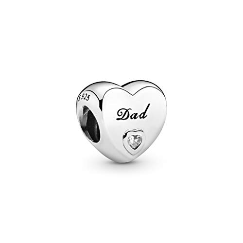 Pandora Moments Dad Herz-Charm Sterling Silber 796458CZ