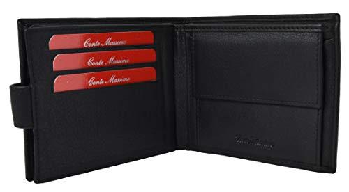 Conte Massimo, Cartera para hombre, cuero genuino, hecho a mano, con caja de regalo Monedero negro y espacio para tarjetero con botón -