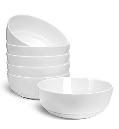 """HARMAN & CO Soup Cereal Salad Bowl, Large  6.5"""" (30oz) Microwave & Dishwasher Safe, Frost White (Set of 6 Bowls)"""