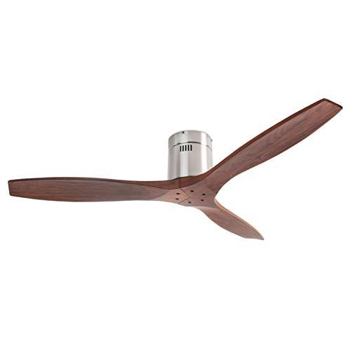 Ventilador de techo Leds-C4 30-5377-81-92 STEM Niquel satinado/Madera oscura