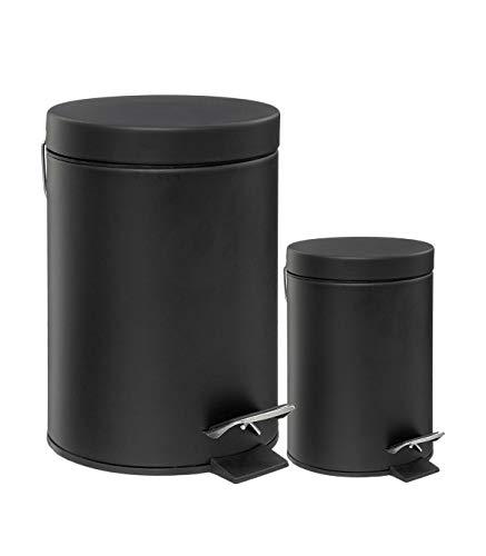 Lot de 2 poubelles à pédales de 12 et 3 litres - Pour cuisine et salle de bain - Coloris NOIR