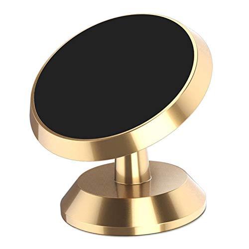 Soporte magnético para teléfono de Coche, Potente imán de rotación de 360 °, Soporte Universal para salpicadero con Fuerte Adhesivo para Cualquier teléfono, GPS y Llave (Oro)