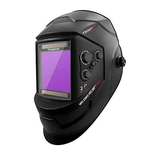 Tsinglax Large Viewing Screen Anti Fog Up True Color Solar Powered Auto Darkening Welding Helmet, 4 Sensor & Wide Shade Range 5/9-13 Welding Mask for TIG MIG ARC Weld Grinding
