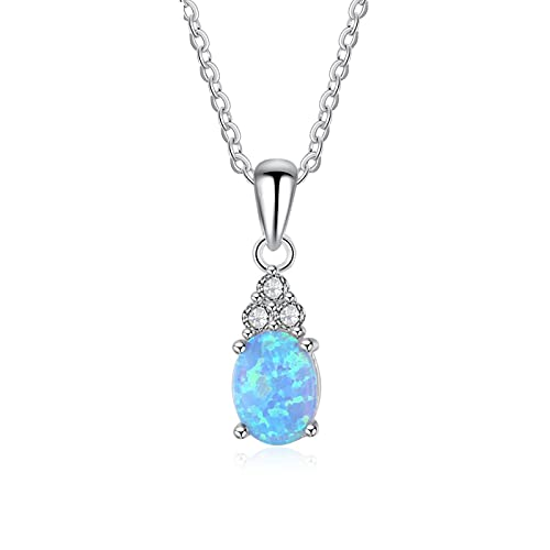 SALAN Collares con Colgante De Plata De Ley 925, Collar De Ópalo Azul Ovalado Creado, Regalo De Joyería Fina De Circonita Cúbica para Mujer