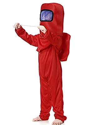 Noucher U Costume Anime Game Jumpsuit Astronaut Space Costume Cosplay Multicolor Bodysuit Set Role Play for Kids Children (Tag L(8-9T), Red) from