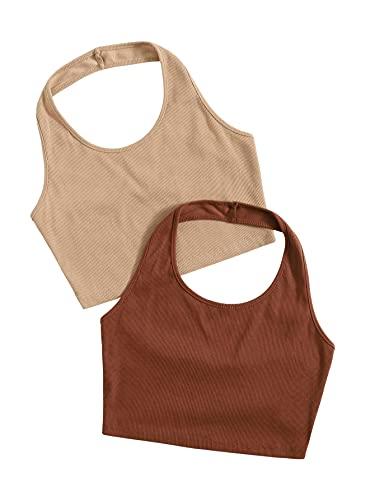 SweatyRocks Women's 2 Pack Basic Rib Knit Crop Halter Top Sleeveless Vest Multicoloured S