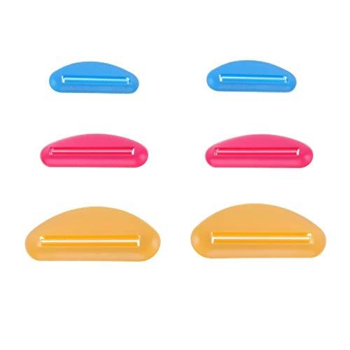 FLZONE 2 Sätze Zahnpasta Tube Squeezer Spender, 6 Pcs Kunststoff Zahnpasta Clips,Quetscher Werkzeug für Zahnpasta, Handcreme, Farbtube, Kosmetik (3 Farben, 3 pro Setf)