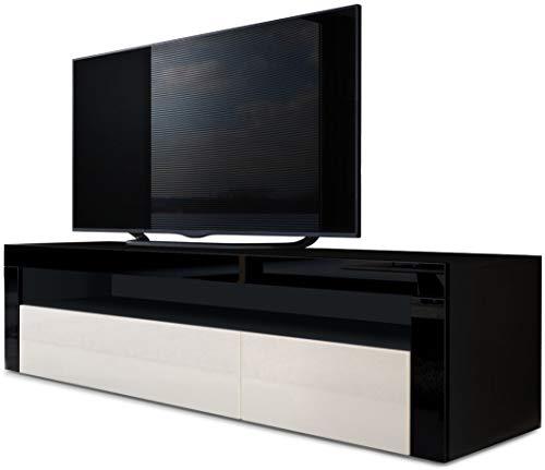 Vladon TV Board Lowboard Valencia, Korpus in Schwarz matt/Front in Creme Hochglanz mit Rahmen in Schwarz Hochglanz