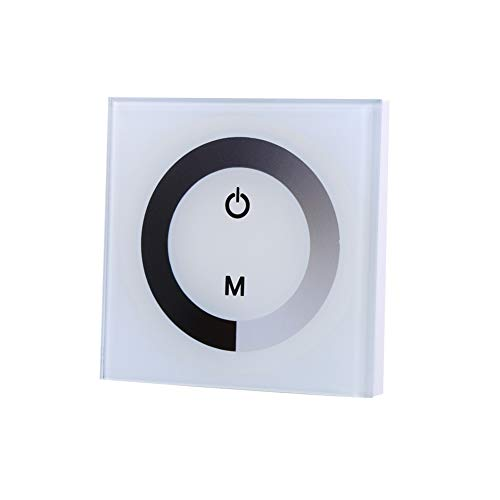 Controlador de panel táctil de pared DC 12V-24V Regulador de brillo ajustable para un solo color Tira de luz LED(Blanco)