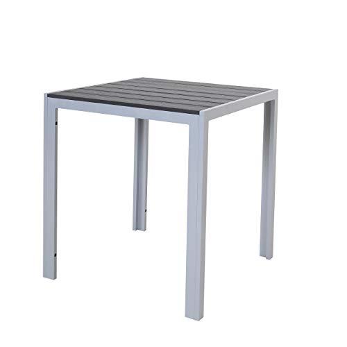 Chicreat - Mesa de aluminio con superficie de Polywood, 70 x 70 x 75 cm, plateado y negro