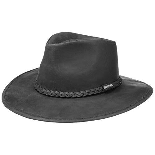Stetson Sombrero Western Buffalo Leather Mujer/Hombre - de Rodeo Vaquero con Banda Piel Verano/Invierno - M (56-57 cm) Negro