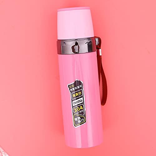 Taza de preservación de calor de gran capacidad de acero inoxidable al aire libre Sling portátil taza de agua 500 ml 500 ml rosa