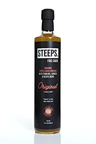Steeps Fire Cider Originele Smaak, Organische Apple Cider Azijn met Kurkuma, Ginger & Heaps Meer, 75 Schoten (750ml Fles)