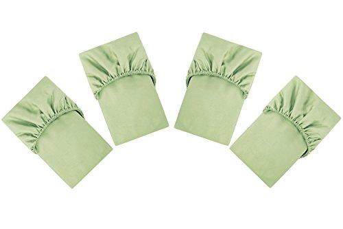PHF Cotton Crib Fitted Sheet 52'X28'X8' Sateen Weave Silky Soft Fits Standard Crib & Toddler Mattress Pack of 4 Light Greeen