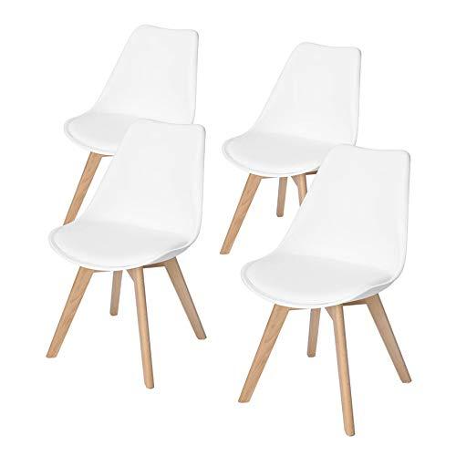 DORAFAIR Pack 4 sillas escandinava Estilo nordico Silla de Comedor, con Las piernas de Madera de Haya Maciza y cojin comoda,Blanco