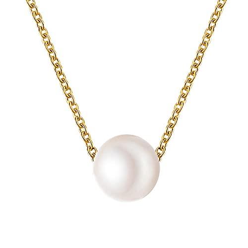 YHHZW Colgante De Collar KPOP Moda Collar Gargantilla De Perlas Mujer Linda Chica Color Dorado Cadena De Perlas Colgante Joyería Coreana Collar De Mujer