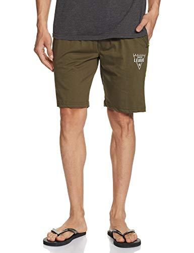 Amazon Brand - Symbol Men's Regular Knit Lounge Shorts (SYMIH-SH-02_Olive_Small)