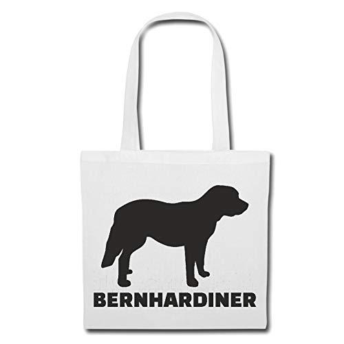 Tasche Umhängetasche Bernhardiner - Mozart - RASSEHUND - Hundezucht - HUNDEWELPE Einkaufstasche Schulbeutel Turnbeutel in Weiß