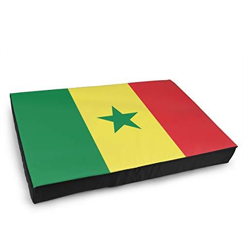 Jacklee Hond Kat Bed met Orthopedisch Schuim en Wasbaar Anti-slip Cover, Senegal Vlag