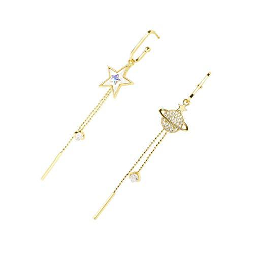 ABOOFAN 1 par de Aretes de Universo de Estrellas Pendientes de Asimetría Pendientes de Borla del Planeta Joyería de Las Mujeres de Las Señoras Pendientes de Gota de Oro