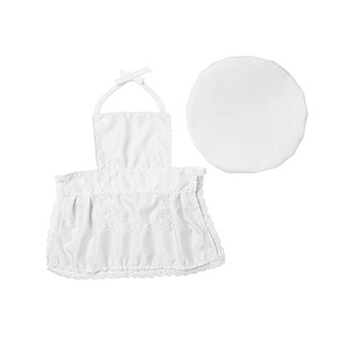 inhzoy Baby Koch Kleidung Chef Uniform Schürze mit Hut Cap Set Säugling Mädchen Jungen Cosplay Fotoshooting Outfits Geburtstag Geschenk Weiß Weiß One Size