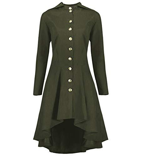 NPRADLA 2018 Mantel Damen Herbst Winter Lang Elegant Frauen Trenchcoat Jacke Blazer Tops Outwear Steampunk Spitze Kapuzen(Grün,46)