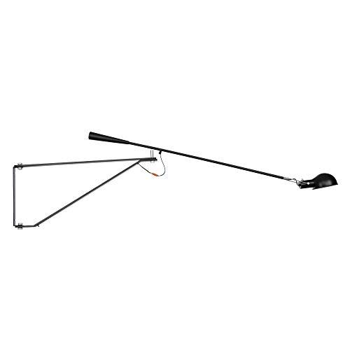 KADONNY E27 Industrie Vintage Swing Arm Wandlampe Nachttischlampe Verstellbar Retro wandleuchte LED Flexibel Einstellbar Foldable 360° Schwenkbar Lange Arm Edison Wandbeleuchtung, Schwarz