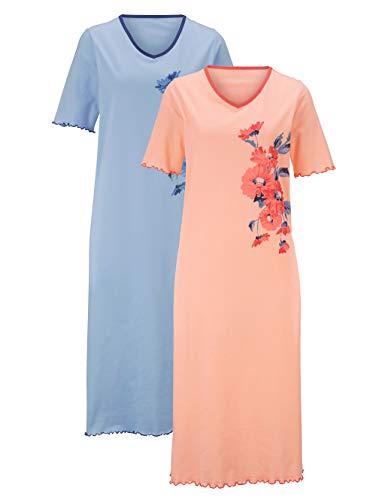Harmony Damen Nachthemd Halbarm in apricot/bleu aus Baumwolle mit platziertem Floraldruck