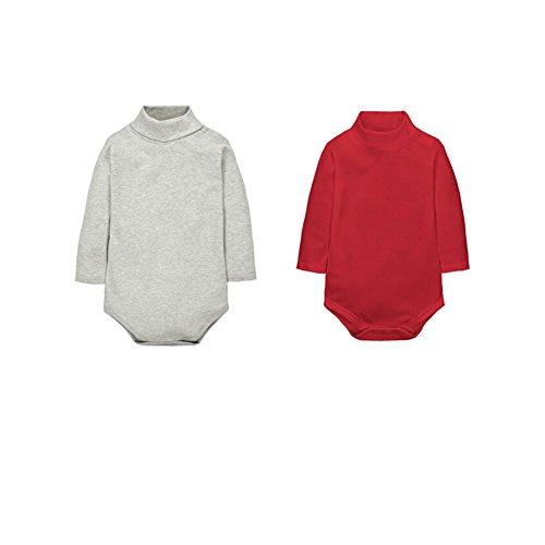 CuteOn 2 confezioni Unisex Bambino Pagliaccetto - Collo altoManica lunga - 100% Cotone -Neonati Body tuta Grigio + Rosso 24 Mesi