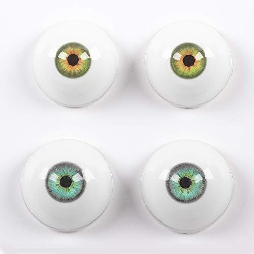 2Pairs of Silicone TPE Dolls Eyes,32mm Half Round Acrylic Doll Bear Craft Resin Eyeballs(Green+Light Biue)