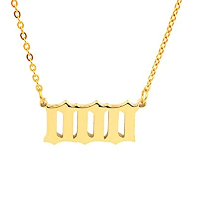 Angel Number Necklace For Women, Gold Plated Dainty 111 222 333 444 555 666 777 888 999 Pendants Choker Chain Numerology Jewelry (000-Gold)